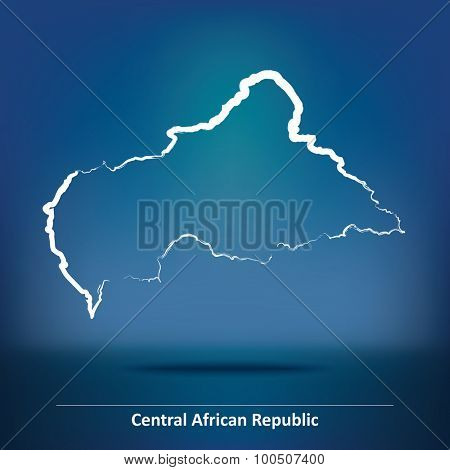 Doodle Map of Central African Republic - vector illustration