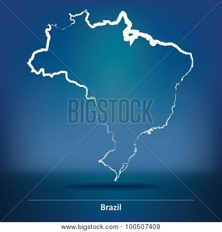 Doodle Map of Brazil - vector illustration