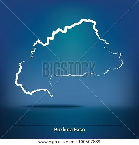 Doodle Map of Burkina Faso - vector illustration