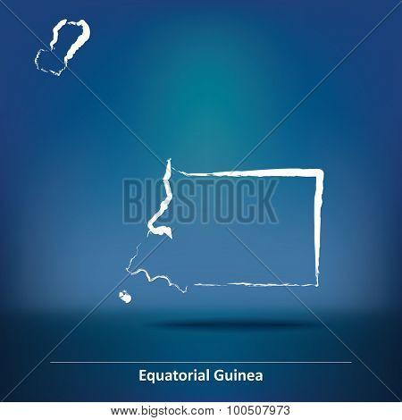 Doodle Map of Equatorial Guinea - vector illustration