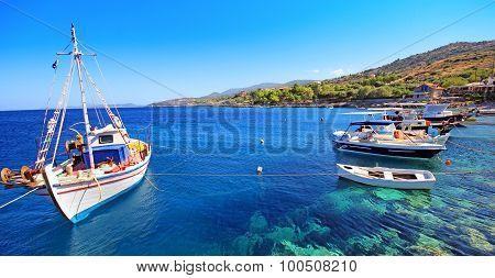 Yachts in the bay island of Zakynthos, Greece