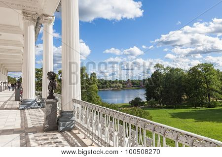 View From The Cameron Gallery At Catherine Park In Tsarskoe Selo