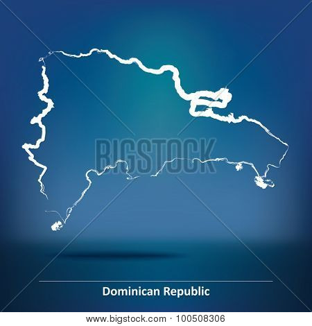 Doodle Map of Dominican Republic - vector illustration