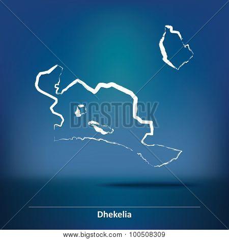 Doodle Map of Dhekelia - vector illustration