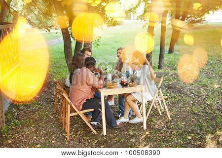 Group of friends sitting by Thanksgiving table outdoors