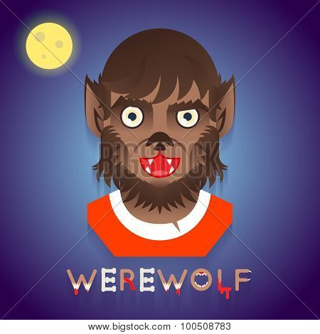 Halloween Party Werewolf Role Character Bust Icons Stylish Background Flat Design Greeting Card Temp