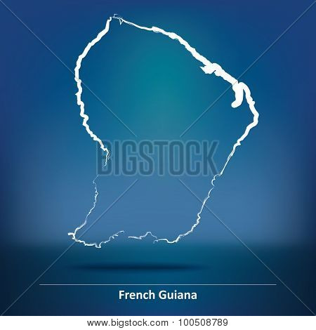 Doodle Map of French Guiana - vector illustration