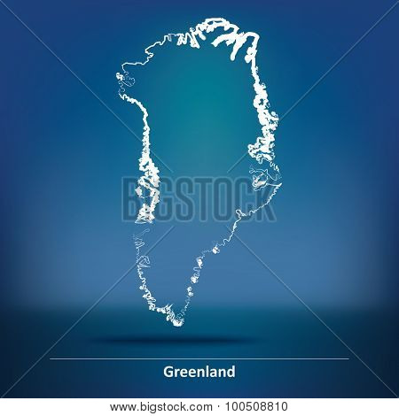 Doodle Map of Greenland - vector illustration