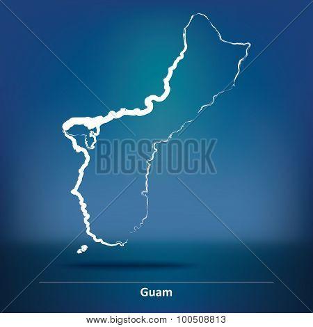 Doodle Map of Guam - vector illustration