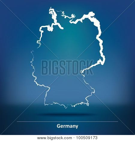 Doodle Map of Germany - vector illustration