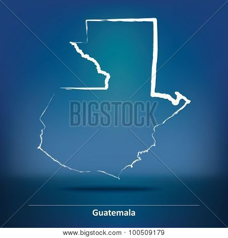 Doodle Map of Guatemala - vector illustration
