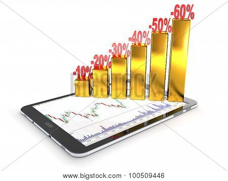 Tablet Pc, Numbers, Percentages, Gold Bars As A Concept Of Financial Success.