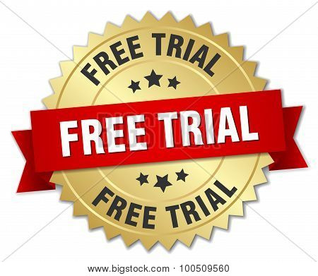 Free Trial 3D Gold Badge With Red Ribbon