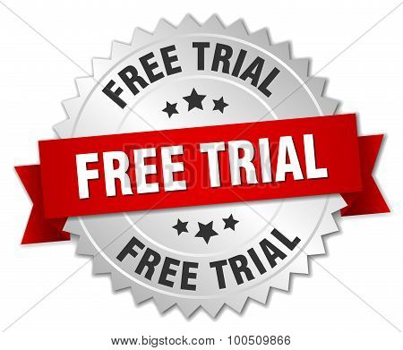 Free Trial 3D Silver Badge With Red Ribbon