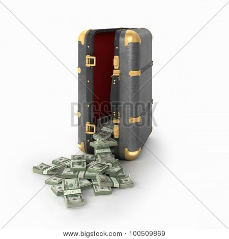 Case With Dollars Isolated On A Whie Background