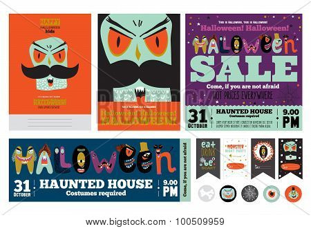 Set Trick or Treat Poster Cards and Stickers