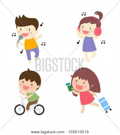 Cartoon people singing,listening music,biking and running