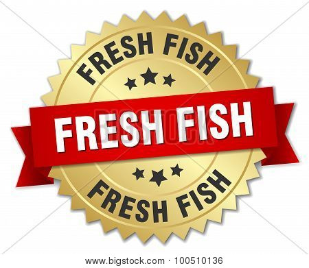 Fresh Fish 3D Gold Badge With Red Ribbon