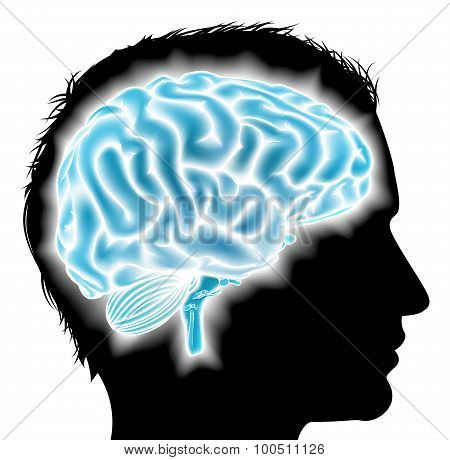 Man Glowing Brain Concept