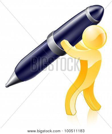 Pen Gold Person