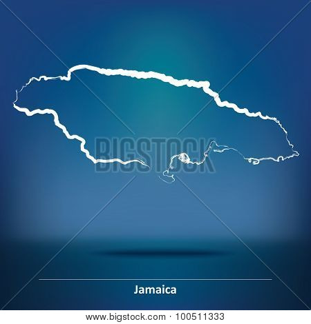 Doodle Map of Jamaica - vector illustration