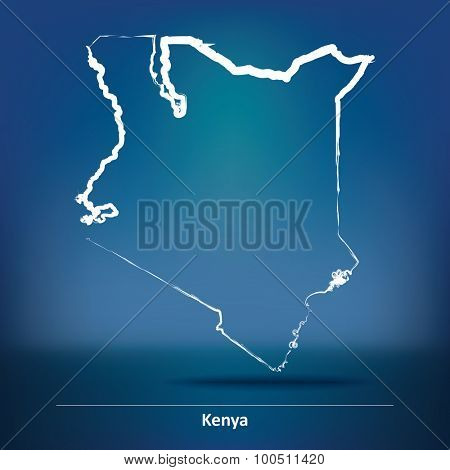 Doodle Map of Kenya - vector illustration