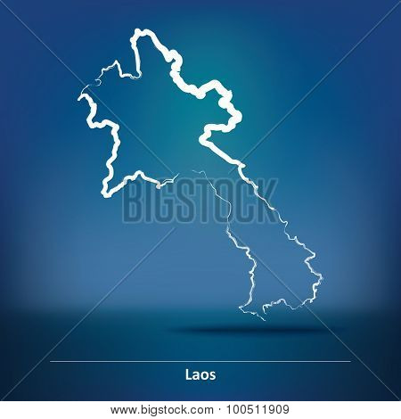 Doodle Map of Laos - vector illustration