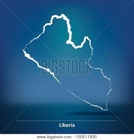 Doodle Map of Liberia - vector illustration