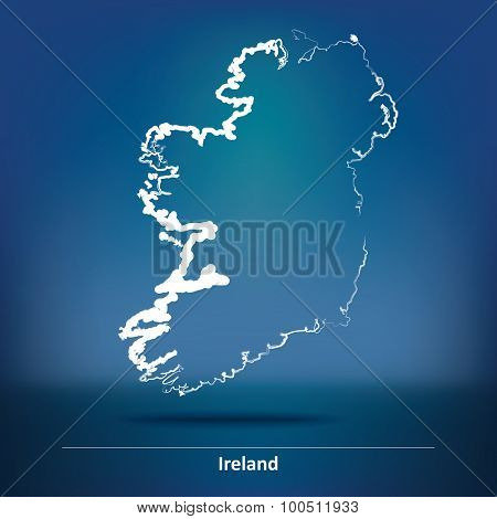 Doodle Map of Ireland - vector illustration