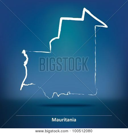 Doodle Map of Mauritania - vector illustration