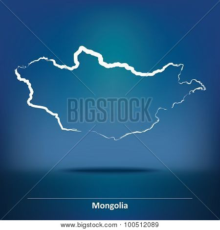 Doodle Map of Mongolia - vector illustration