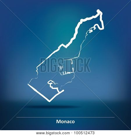 Doodle Map of Monaco - vector illustration