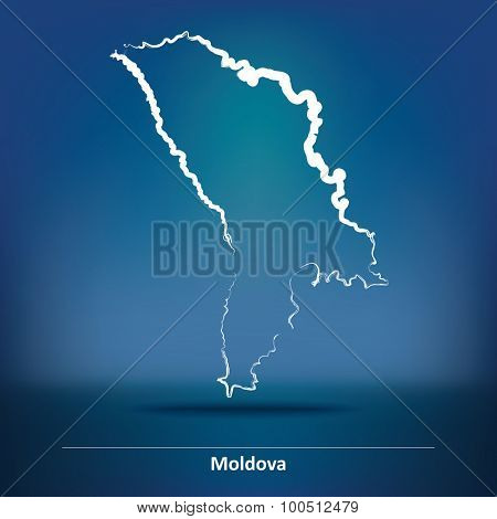 Doodle Map of Moldova - vector illustration