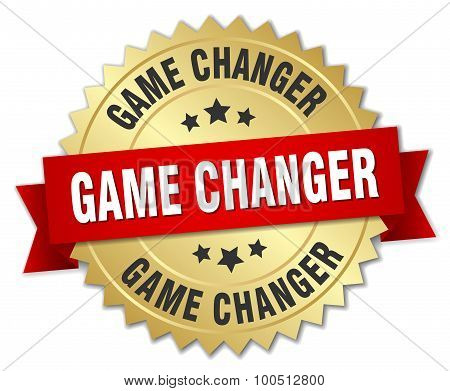 Game Changer 3D Gold Badge With Red Ribbon