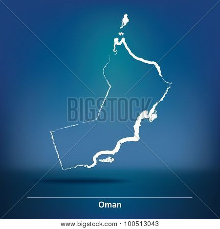 Doodle Map of Oman - vector illustration