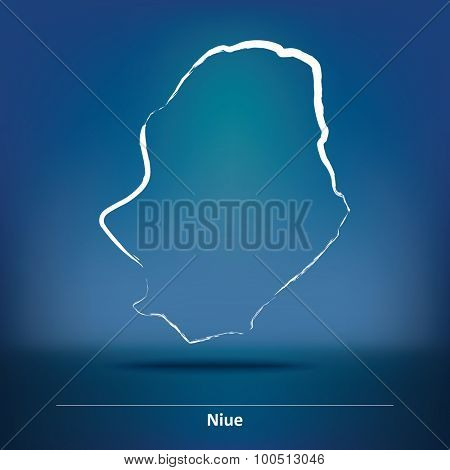 Doodle Map of Niue - vector illustration
