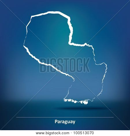 Doodle Map of Paraguay - vector illustration