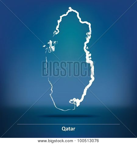 Doodle Map of Qatar - vector illustration