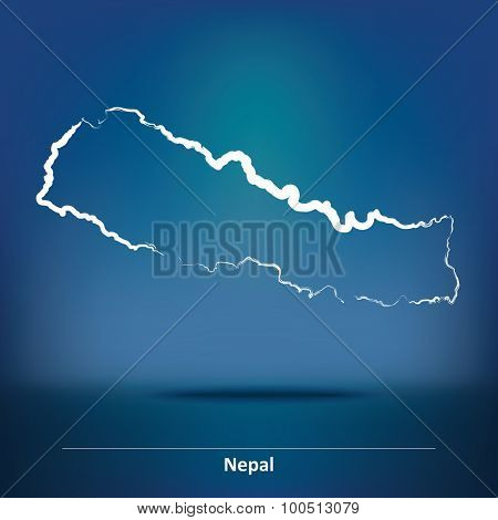 Doodle Map of Nepal - vector illustration