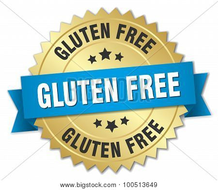 Gluten Free 3D Gold Badge With Blue Ribbon