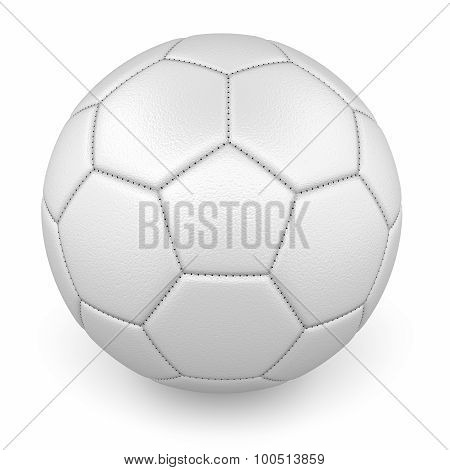 White Leather Soccer Ball