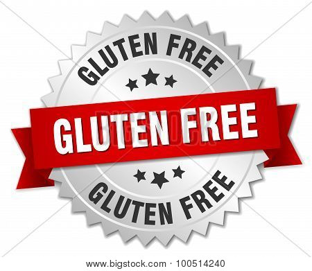 Gluten Free 3D Silver Badge With Red Ribbon