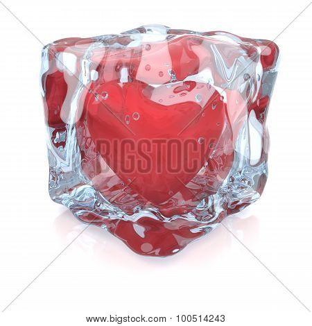 Heart Inside The Ice Cube