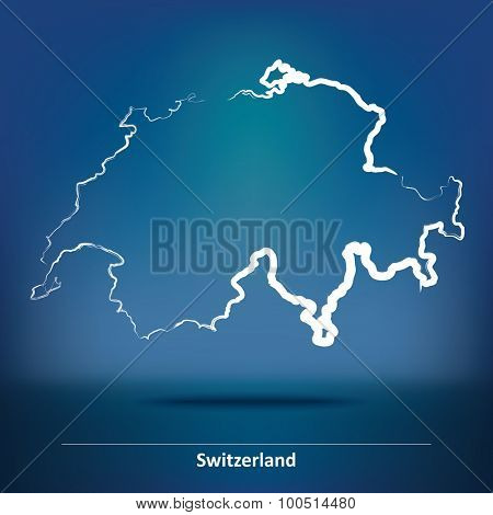 Doodle Map of Switzerland - vector illustration