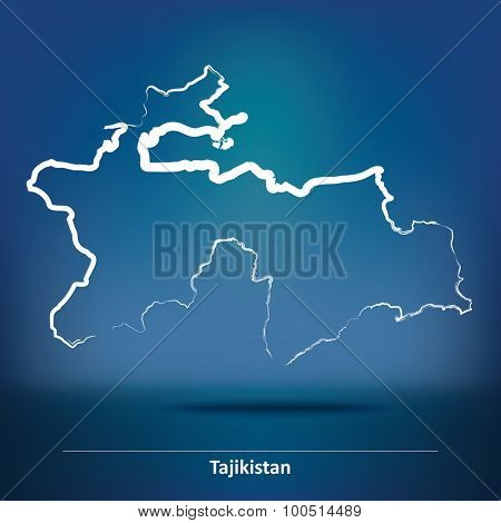 Doodle Map of Tajikistan - vector illustration