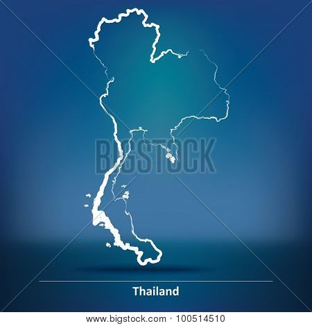 Doodle Map of Thailand - vector illustration