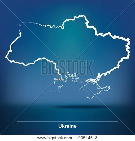 Doodle Map of Ukraine - vector illustration