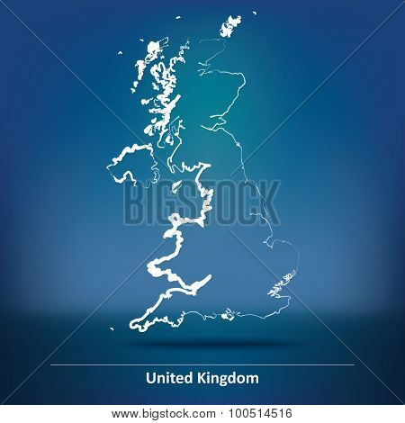 Doodle Map of United Kingdom - vector illustration