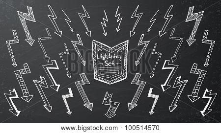 Set of hand drawn lightning on black background