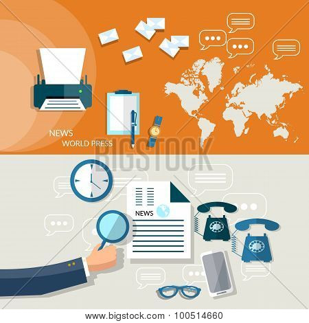 World Business News Analytic Business Plan Strategy Hand Of Businessman Financial Report Flat Header